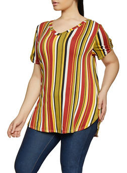Plus Size Striped Tabbed Sleeve Tee - 1915074280031