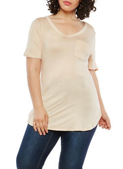 Plus Size V Neck Tunic T Shirt - 1915074280103