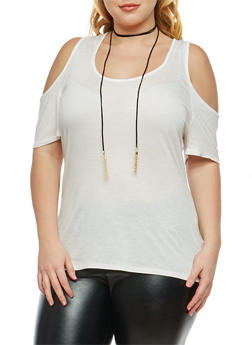 Plus Size Cold Shoulder Top with Tassel Choker - 1915074280502