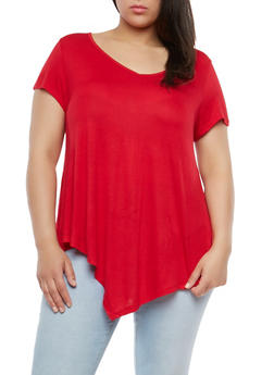 Plus Size Basic Asymmetrical Top - 1915074281006