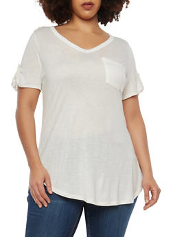Plus Size Basic Tabbed Sleeve T Shirt - 1915074281020