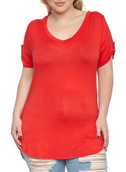 Plus Size V Neck Tee - 1915074281106