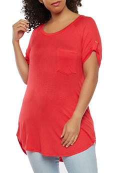 Plus Size Solid Tunic Top - 1915074281109