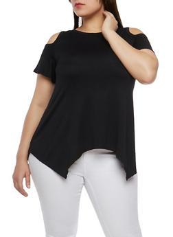 Plus Size Cold Shoulder Top - 1915074281110
