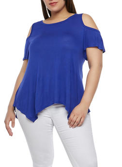 Plus Size Cold Shoulder Top - 1915074281110