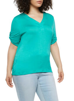Plus Size Tabbed Sleeve Basic T Shirt - 1915074281140