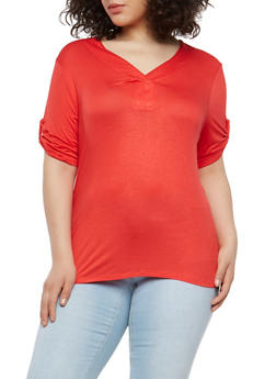 Plus Size Tabbed Sleeve Basic T Shirt - 1915074281140
