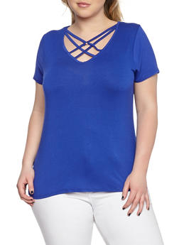 Plus Size Caged Neck Tee - 1915074282001