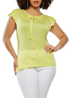 Plus Size Basic Flutter Sleeve Top - 1915074282002