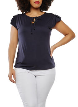 Plus Size Basic Flutter Sleeve Top - 1915074282002