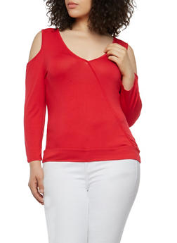 Plus Size Stitch Trim Cold Shoulder Top - 1915074282003