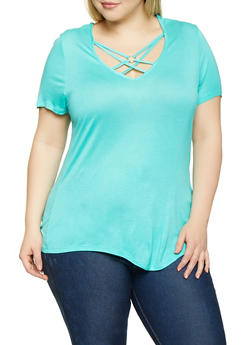Plus Size Caged Tee - 1915074282011