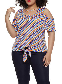 6d71063f05fc59 Plus Size Caged Striped Cold Shoulder Top - 1915074282262