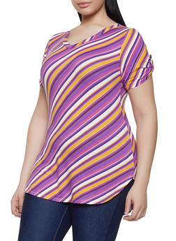 Plus Size Diagonal Stripe Tabbed Sleeve Tee - 1915074282266