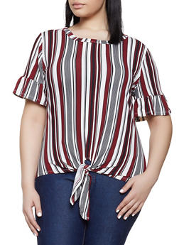 Plus Size Striped Tie Front Bell Sleeve Tee - 1915074282634