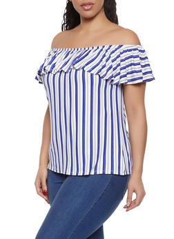 Plus Size Sleeveless Off the Shoulder Top - 1915074285003