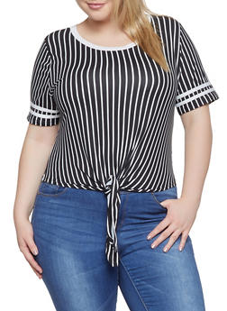Plus Size Striped Tie Front Tee | 1915074285006 - 1915074285006