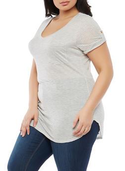 Plus Size Striped V Neck T Shirt - 1915074285055