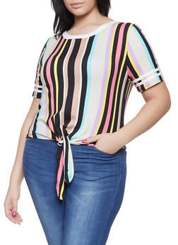 Plus Size Striped Tie Front Tee - 1915074285504