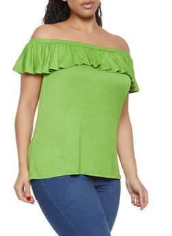 Plus Size Flutter Sleeve Off the Shoulder Top - 1915074286005