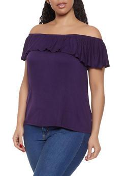 08ea2e4694d Purple Plus Size Off The Shoulder Tops for Women
