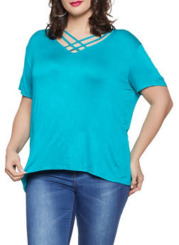 Plus Size Caged V Neck Tee - 1915074286006