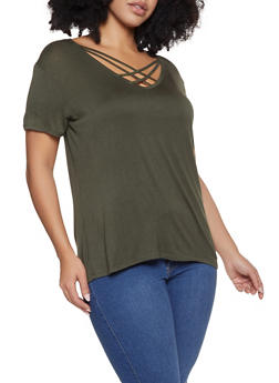Plus Size Caged V Neck Tee - 1915074286007