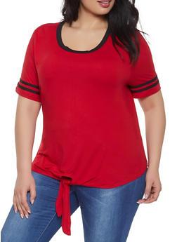 Plus Size Tie Front Tee - 1915074286008