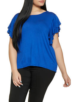 Plus Size Tiered Sleeve Top - 1915074286009