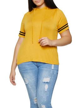Plus Size Hooded Varsity Stripe Tee - 1915074286010