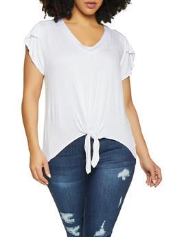 Plus Size Tie Front Tee - 1915074287133