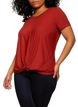 Plus Size Ribbed Knit Twist Front Top - 1915075172029