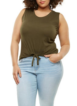 Plus Size Tie Front Basic Tank Top - 1916033871885