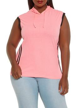Plus Size Side Stripe Hooded Top - 1916033879165