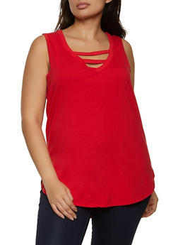 Plus Size Caged V Neck Tank Top - 1916038347034