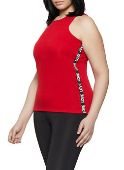 Plus Size Love Tape Trim Tank Top - 1916038349111