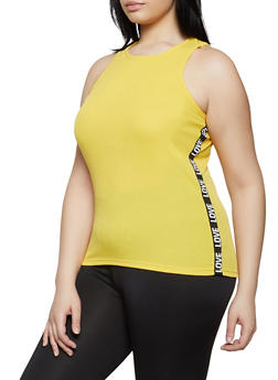 Yellow 4X Sleeveless Tops