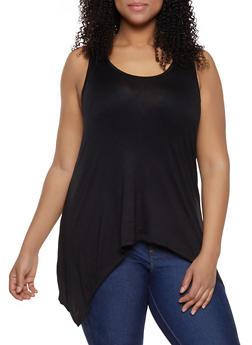 Plus Size Solid Sharkbite Tank Top | 1916038349158 - BLACK - 1916038349158