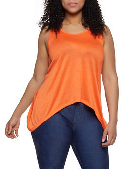 Plus Size Solid Sharkbite Tank Top | 1916038349158 - ORANGE - 1916038349158