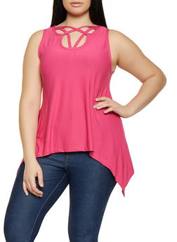 Plus Size Caged Neck Sharkbite Top - 1916038349205