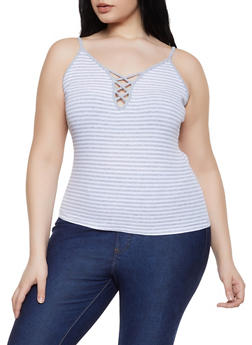 Plus Size Caged Neck Cami - 1916054260724