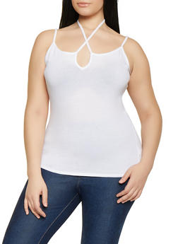 Plus Size Tie Neck Cami - WHITE - 1916054260947