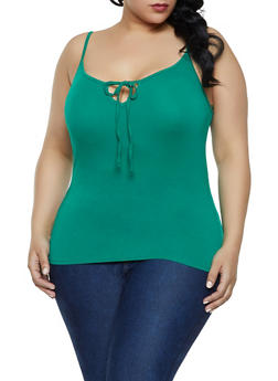 Plus Size Tie Neck Cami - KELLY GREEN - 1916054260947
