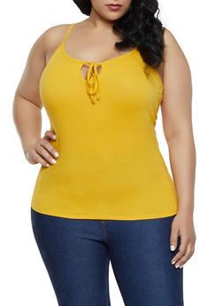 Plus Size Tie Neck Cami - MUSTARD - 1916054260947