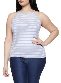 Plus Size Striped Racerback Cami - 1916054261046