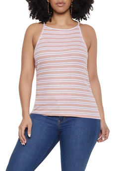 Plus Size Striped Racerback Cami - MAUVE - 1916054261046