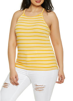 Plus Size Striped Racerback Cami - MUSTARD - 1916054261046