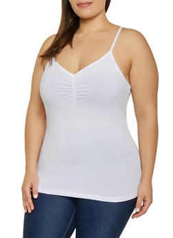 Plus Size Shirred Cami - 1916054261049
