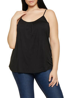 Plus Size Shirred Cami - 1916054261086