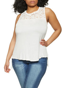 Plus Size Lace Yoke Button Back Top - 1916054268104